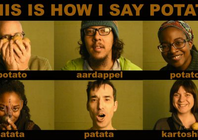 Still image from THIS IS HOW IS SAY POTATO, 2016.